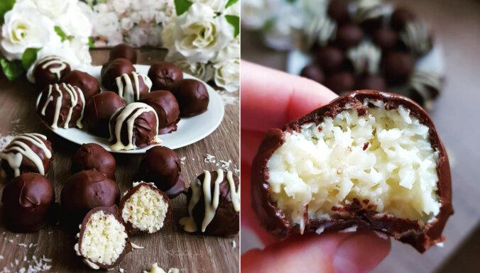 Foto recepte: 'Bounty' konfektes no trīs sastāvdaļām