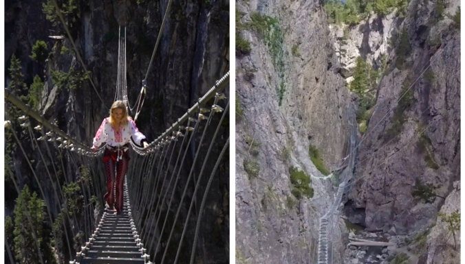 Puskilometra garumā un ievērojamā augstumā: iespaidīgs trošu tilts Itālijā