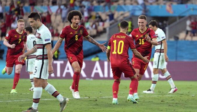 Beļģijas izlase smagā spēles izskaņā notur uzvaru pret iepriekšējo čempioni Portugāli