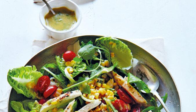 salātu mērces recepte sinepju mērce salāti ar grilētu vistu vistas fileju mazkaloriju recepte tievētājiem