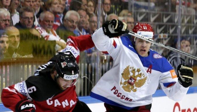 Krievijas-Kanādas un Zviedrijas-Somijas dueļos noskaidro pasaules čempionāta finālistus