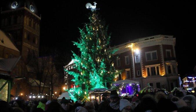 ФОТО: На Домской площади зажгли огни на главной елке Риги