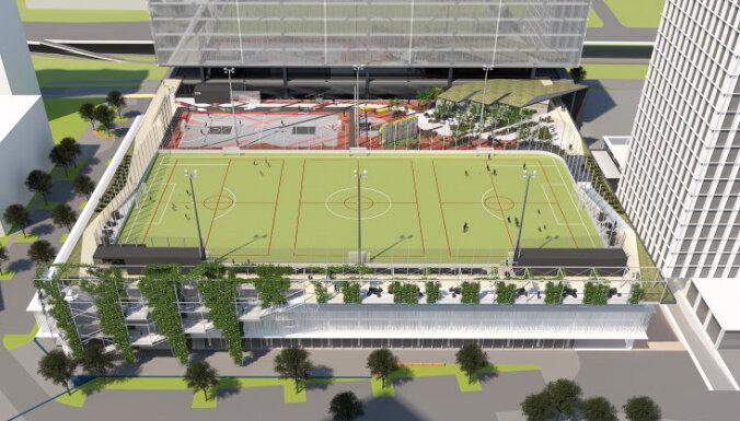 На территории Дома печати в Риге построят футбольное поле для детей и любителей