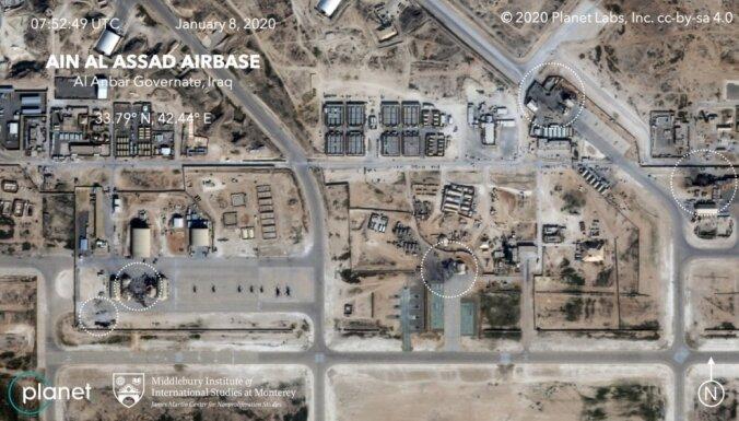 Foto: Satelīta attēli atklāj Irānas raķešu postījumus Ainasadas bāzē