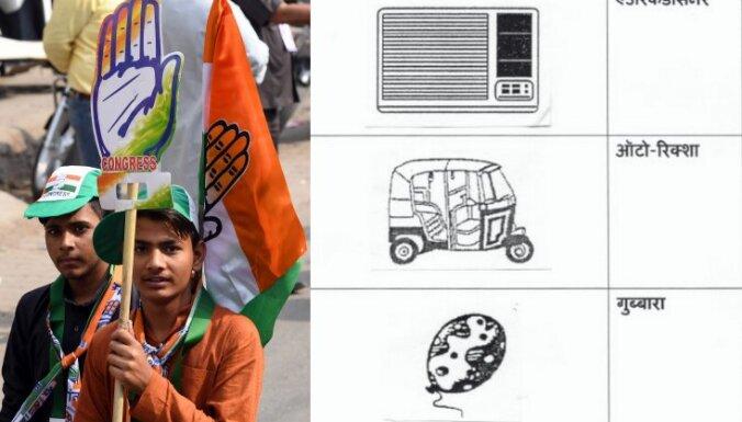 Kūka, kalkulators, gludeklis: kā Indijas lasītnepratēji balso vēlēšanās