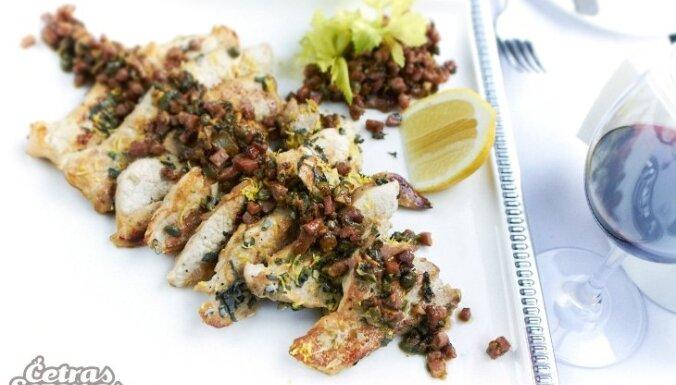 Эскалоп из телятины с анчоусами (средиземноморская кухня)