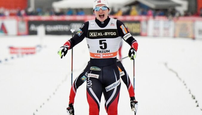 Norvēģiete Bjergena kļūst par visu laiku zelta medaļām bagātāko slēpotāju pasaules čempionātos