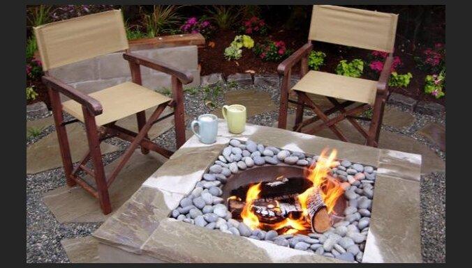 Foto padoms: Eleganta ugunskura vieta - grils pagalmā
