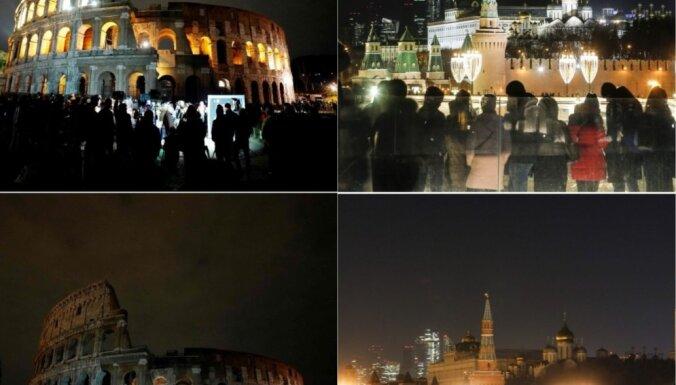 Foto: Kā 'Zemes stundā' visā pasaulē tumsā iegrima pilsētas un slaveni objekti