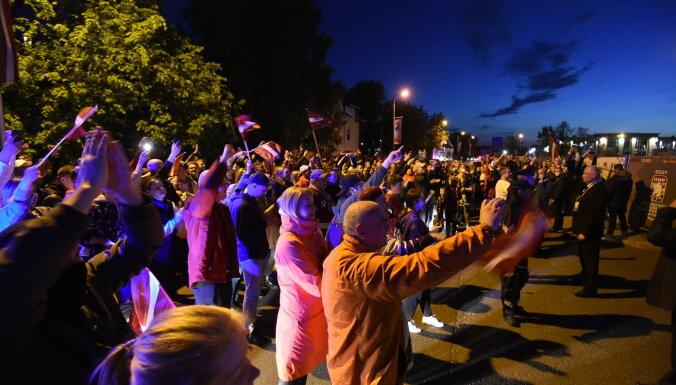 Полиция: фаны не нарушили правопорядок, массово отмечая победу Латвии над Канадой