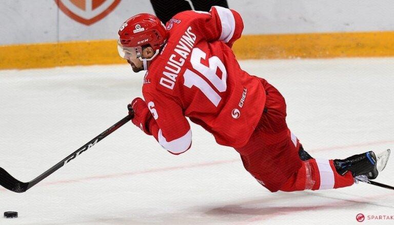 Daugaviņš ar gūtiem vārtiem neglābj Maskavas 'Spartak' no zaudējuma KHL mačā