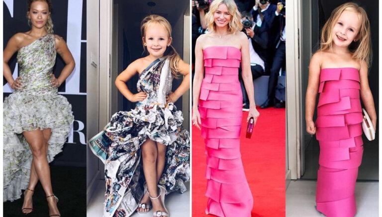 No kreppapīra, avīzēm un maisiem: mammas un meitas projekts, atdarinot slavenību tērpus