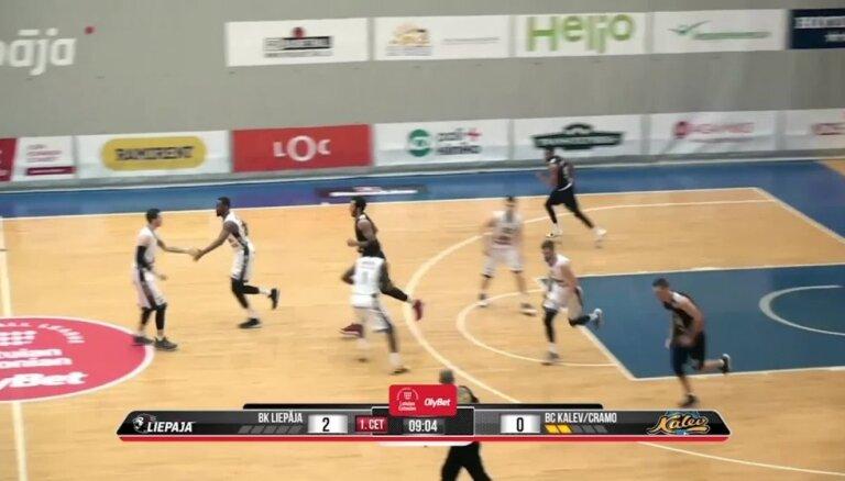 'OlyBet' basketbola līga: 'Liepāja' - 'Kalev/Cramo'. Spēles labākie momenti