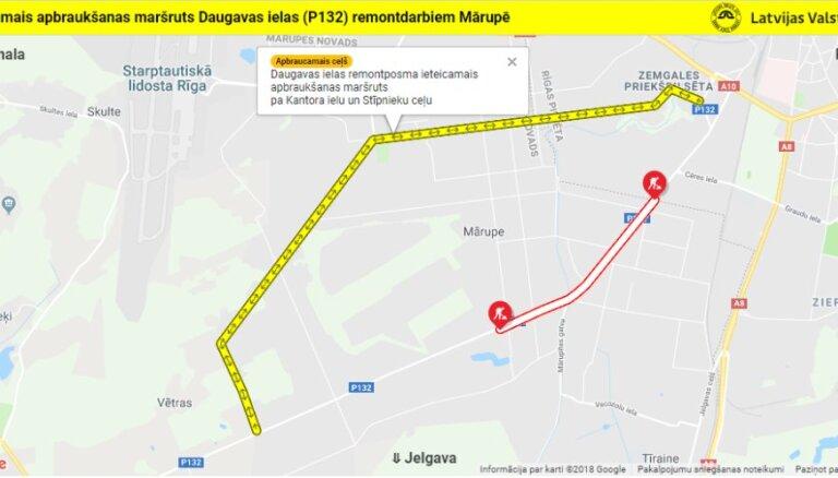 Svētdien ceļu būvdarbu zonā Mārupē būs apgrūtināta satiksme