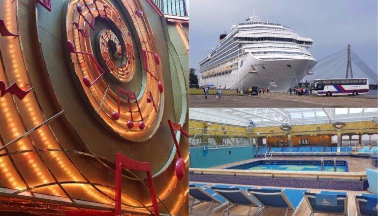 Foto: Pasažieru ostā piestājis 'Costa Pacifica' – lielākais Rīgā ienākušais kuģis