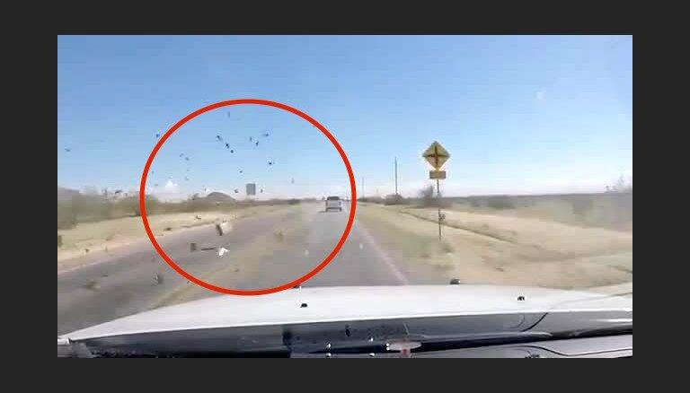 Bēgot no policijas Arizonā, no pikapa sviež marihuānas ķīpas