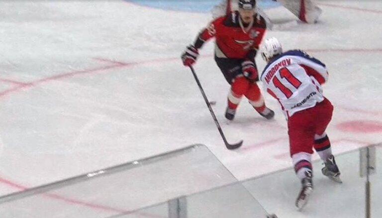 Maskavas CSKA hokejisti nonāk vienas uzvaras attālumā no Gagarina kausa