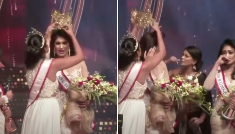 Video: Dramatiski notikumi skaistumkonkursā 'Misis Šrilanka'