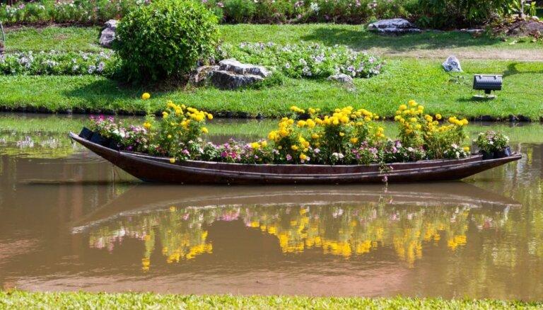 Vecu laivu otrā dzīve: idejas košu puķu dobju un dekoru izveidei dārzā