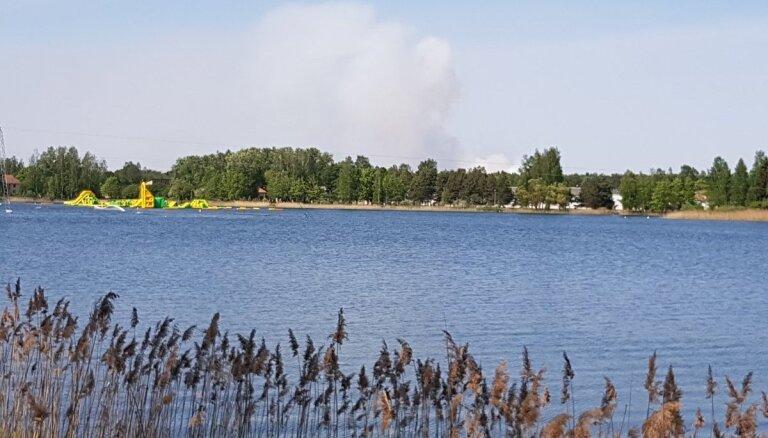 Foto: Olainē izcēlies meža un kūdras ugunsgrēks