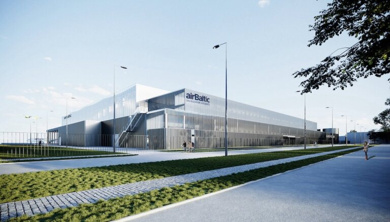 ФОТО: airBaltic построит крупный ангар в Рижском аэропорту