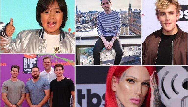 Jaunākais reitings: piecas vislabāk atalgotās 'YouTube' zvaigznes