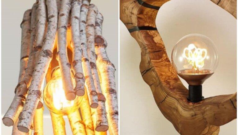 Iedvesmas deva tavai mājai: piecas neparastas lampas, kas izgatavotas no koka