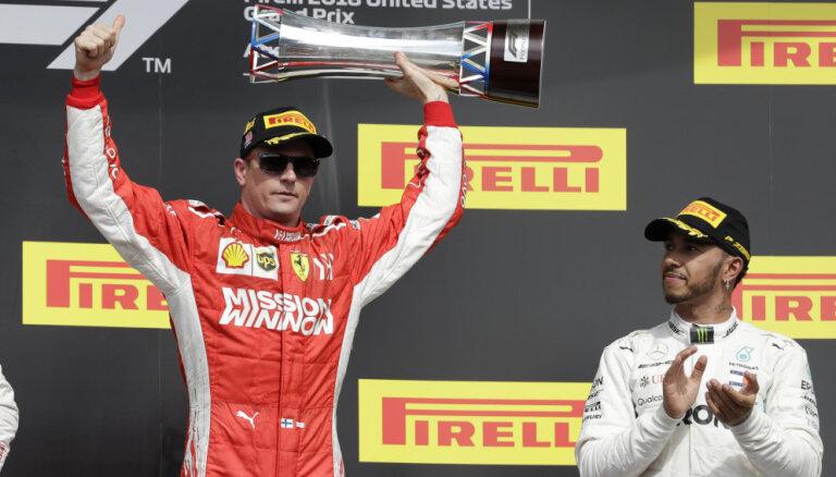 Raikonens izcīna uzvaru ASV 'Grand Prix', Hamiltonam vēl nenodrošinot titulu