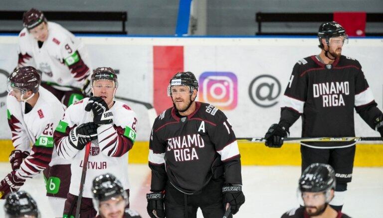Latvijas hokeja izlase pārbaudes spēlē pārliecinoši piekāpjas Rīgas 'Dinamo'