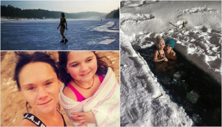 'Mammu, drīkst, es ieiešu āliņģī?' Pieredze: bērni peld ziemā un vārtās sniegā