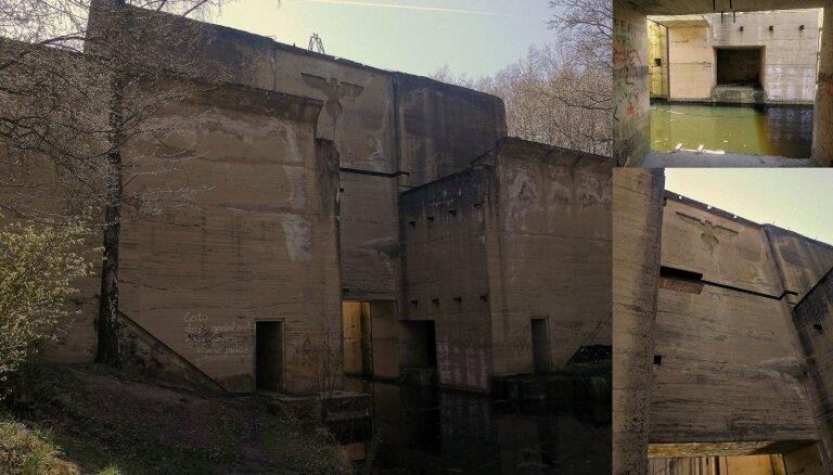 Milzīgas nacistu slūžas un leģenda par vācu zemūdeni bunkuros Polijā