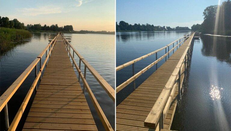 ФОТО. В Лудзе открылся самый длинный в Латвии понтонный мост