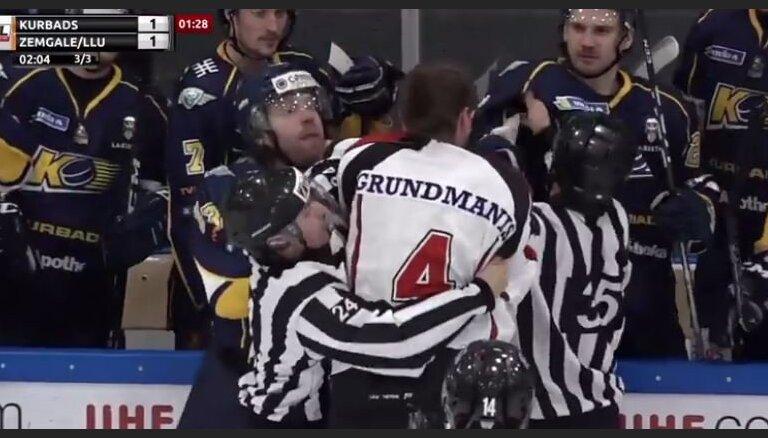Video: Sprukts OHL spēlē 'saķeras' ar Grundmani