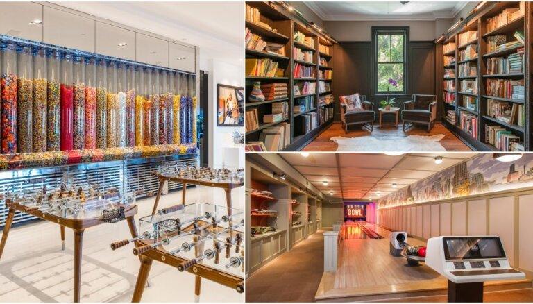 Boulinga celiņi un konfekšu istabas: kādas īpašas telpas slēpjas slavenību mājokļos