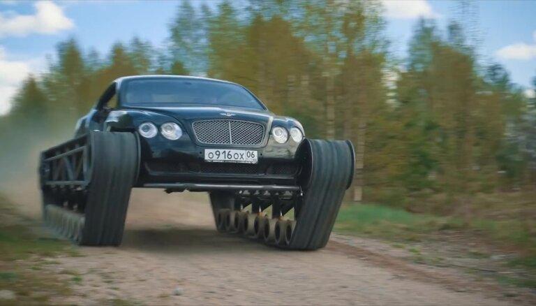 Video: Krievijā radīts 'Bentley' ar kāpurķēdēm