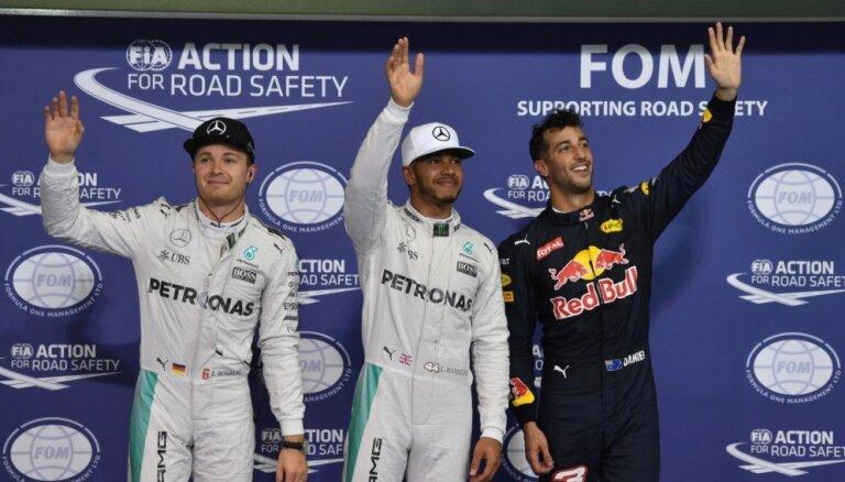 Hamiltons uzvar Abū Dabī F-1 'Grand Prix' kvalifikācijā