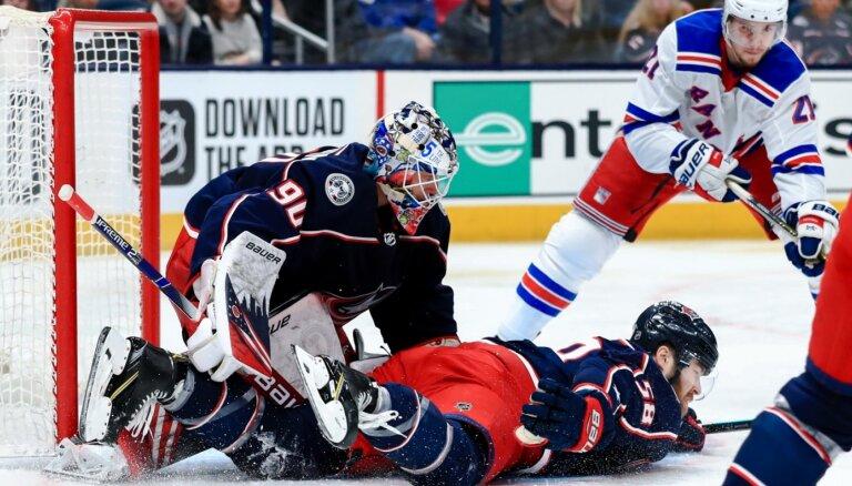 Merzļikina sniegums neglābj 'Blue Jackets' no zaudējuma pret 'Rangers'