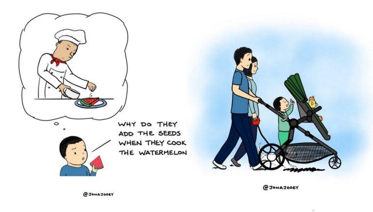 Foto: Tētis karikatūrās iemūžina amizantas sadzīves ainiņas no dzīves ar mazuli