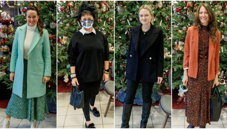 Foto: Sabiedrības dāmas lielveikalā jau ieskandina Ziemassvētkus