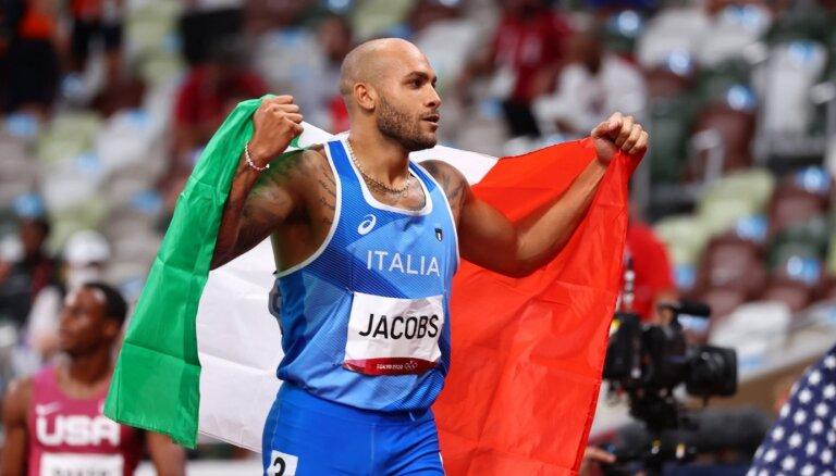 Džeikobss negaidītā 100 metru sprinta iznākumā sagādā Itālijai vēsturisku zeltu