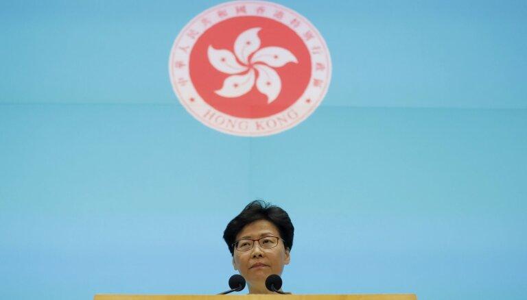 Honkongas līdere atvainojas par protestus izraisījušo likumprojektu