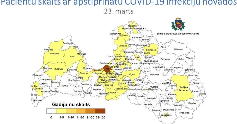 Больше всего случаев Covid-19 выявлено в Риге, Юрмале и Елгаве