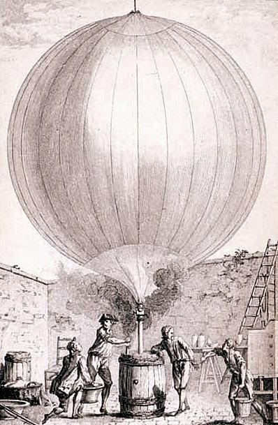 Līdzīga aerostata palaišana Parīzē 1783. gadā.