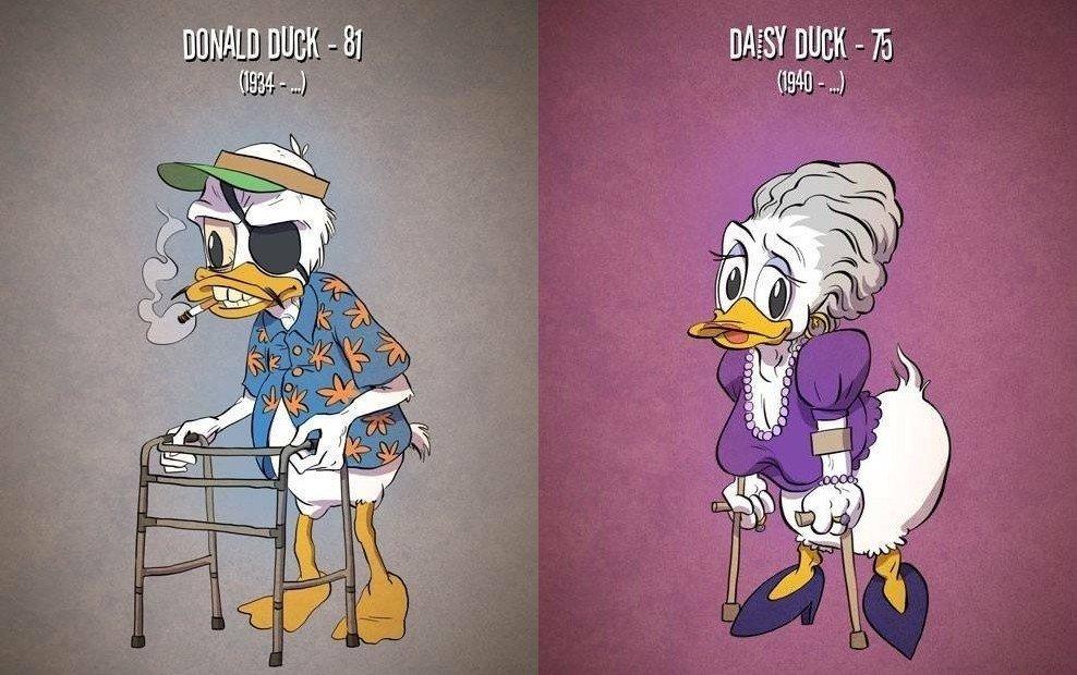 Kā izskatītos populāru multfilmu varoņi, ja viņi novecotu