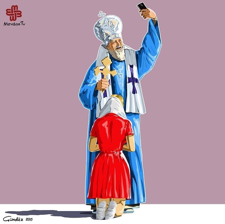Svētie selfiji: satīriskas karikatūras par reliģisko fanātismu